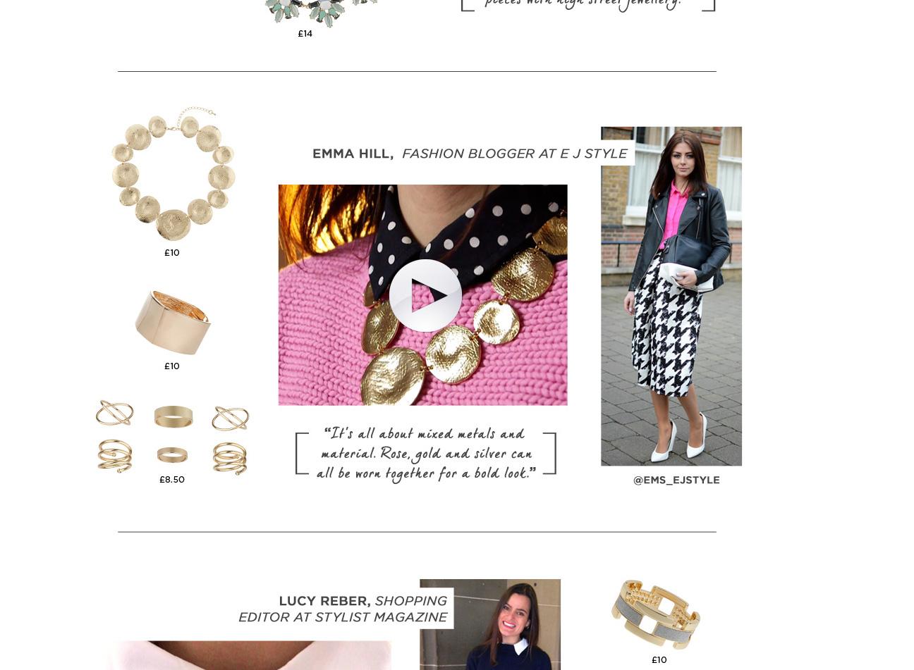 Dorothy Perkins LFW Jewellery Feb 14