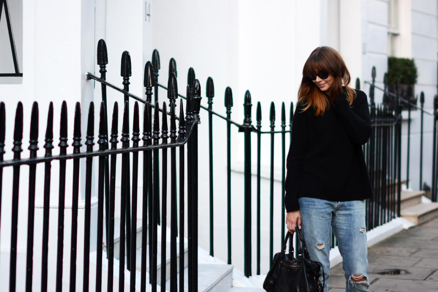 EJSTYLE - Black boohoo jumper funnel neck, levis 501 boyfriend jeans, ombre mid length hair with fringe, London Street Style