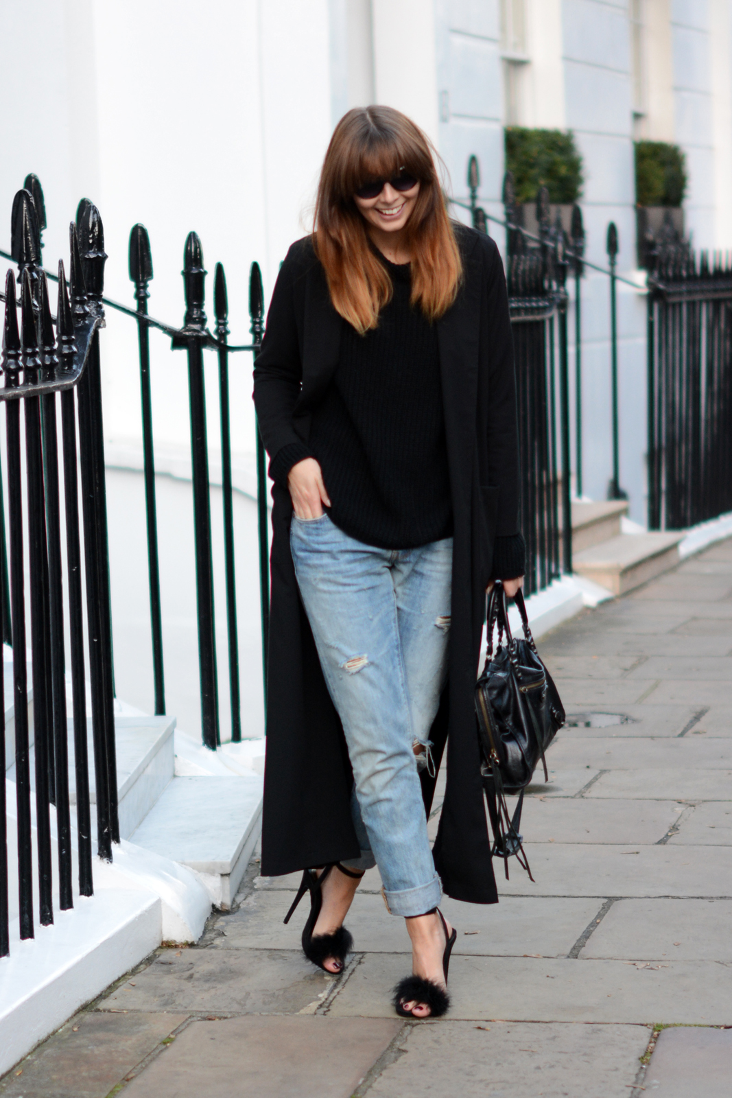EJSTYLE - Long Black boohoo duster coat, levis 501 boyfriend jeans, Missguided black fluffy feather Carrie heels sandals, Balenciaga motorcycle le dix city bag black, London Street Style