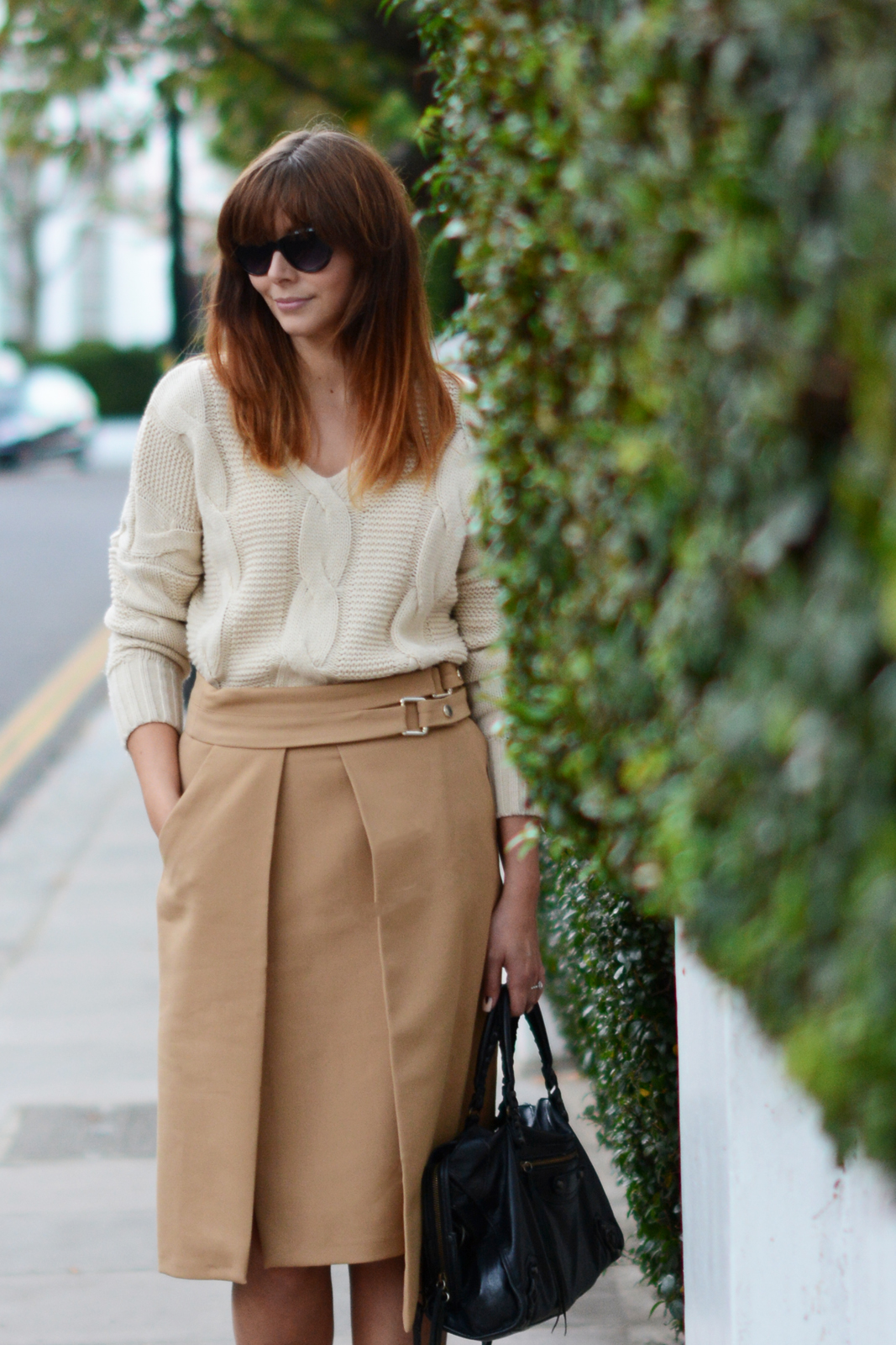 EJSTYLE - OOTD Zara Camel wrap skirt with buckles, chunky cream knitted sweater jumper, Balenciaga motorcycle le dix bag, cat eye sunglasses