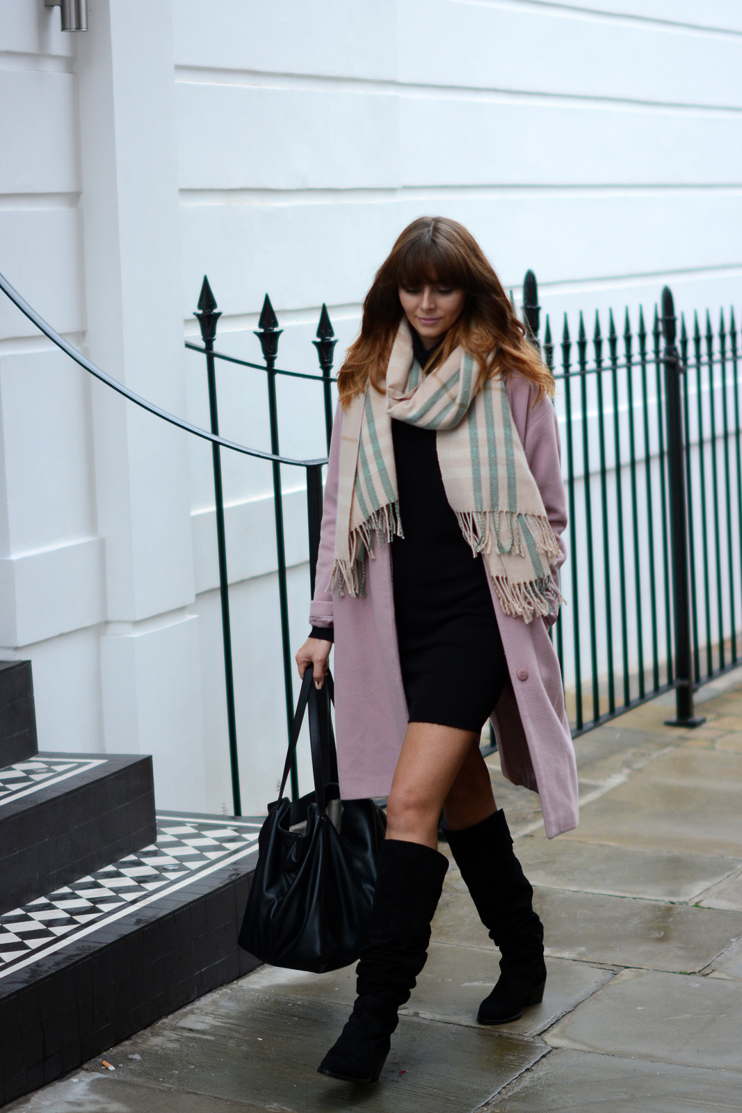EJSTYLE - Pink Coat, Pink Grey blanket scarf, Roll neck sweater dress, 60's style, Fall Autumn OOTD, OTK Suede boots black