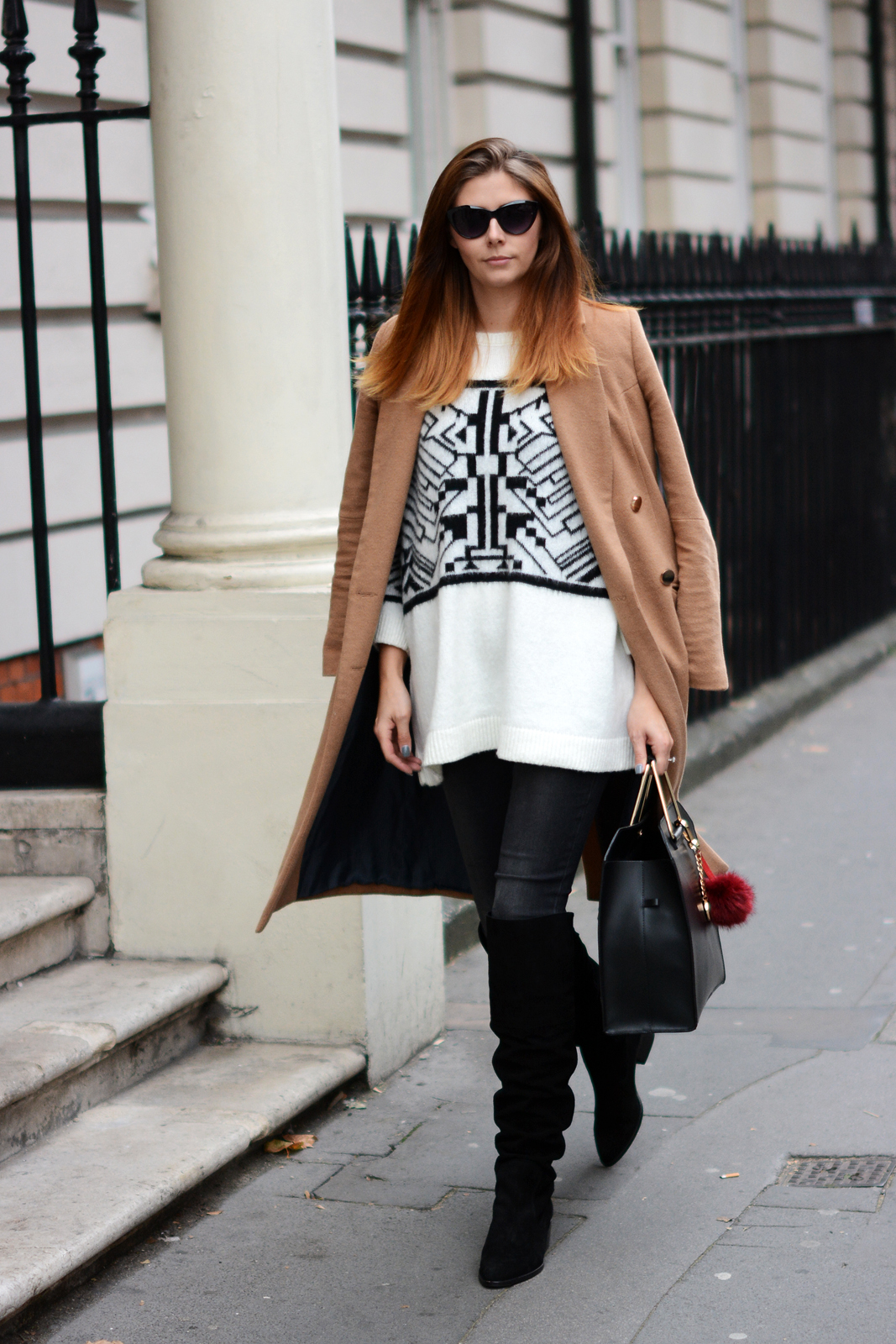 EJSTYLE - River Island double breated camel coat, aztec sweater, Black suede OTK boots, ASOS metal handle bag, fall outfit