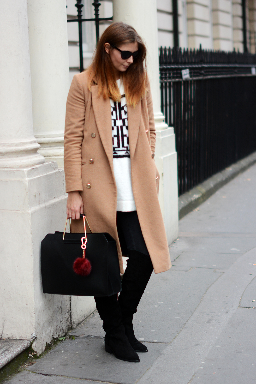 EJSTYLE - River Island double breated camel coat, aztec sweater, Black suede OTK boots, black skinny jeans, ASOS metal handle bag, fall autumn outfit