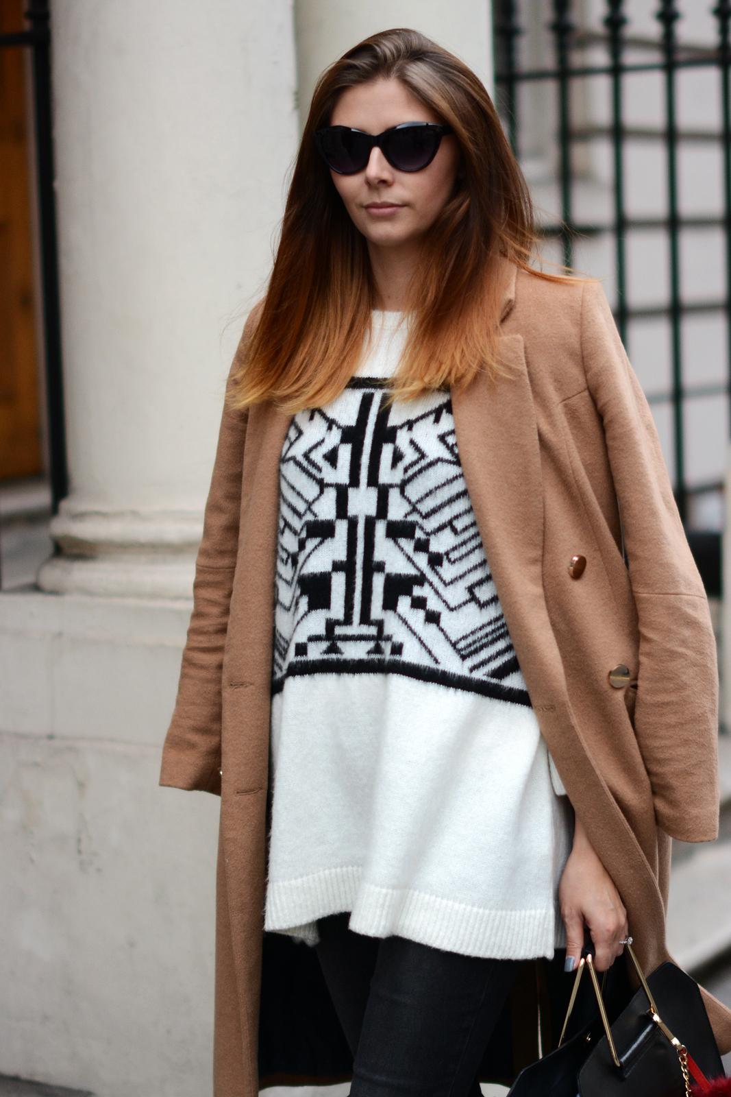 EJSTYLE - River Island double breated camel coat, aztec sweater, fall outfit