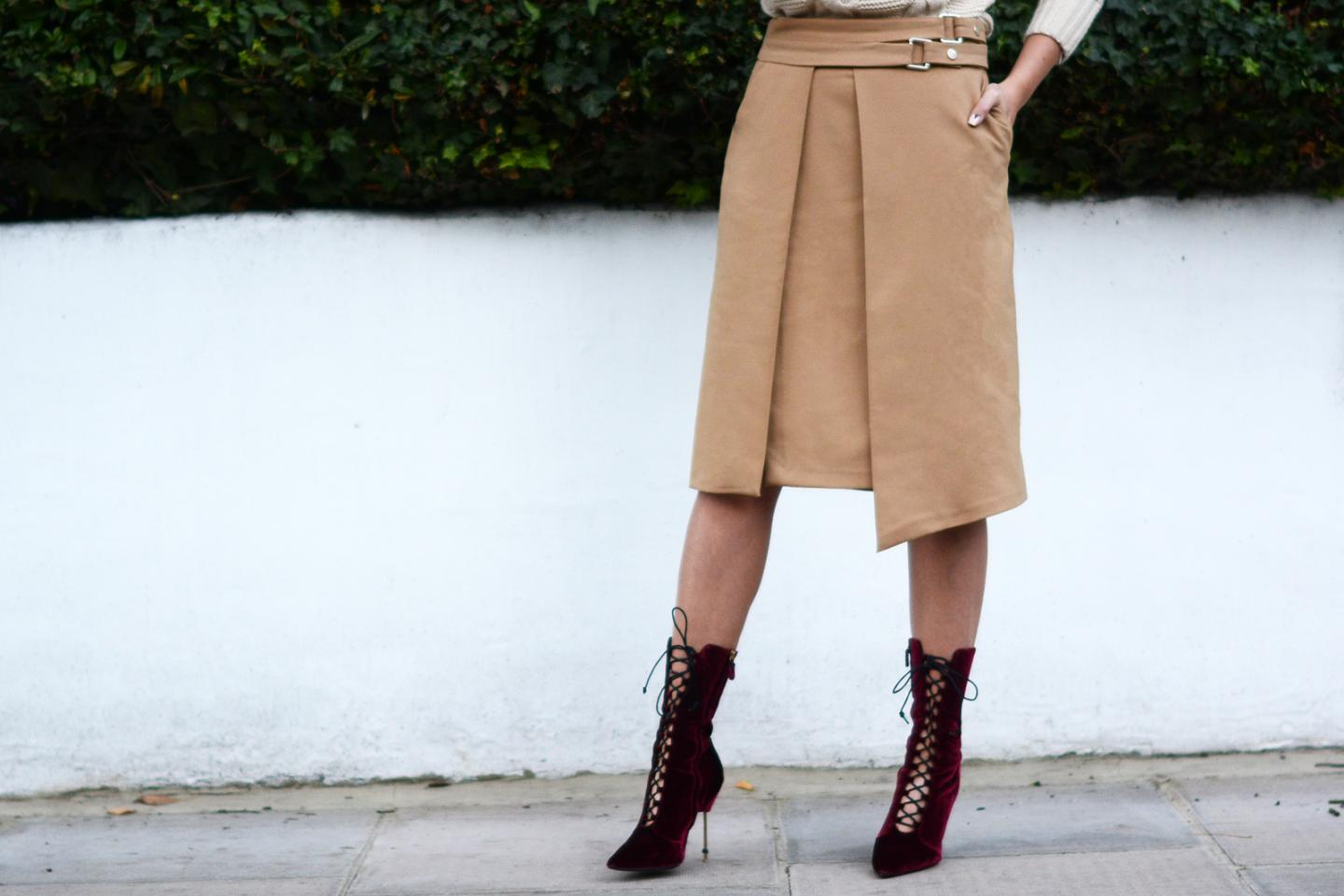 EJSTYLE - burgundy wine velvet lace up heeled boots by Kurt Geiger with metal heel, Zara camel wrap skirt with buckles