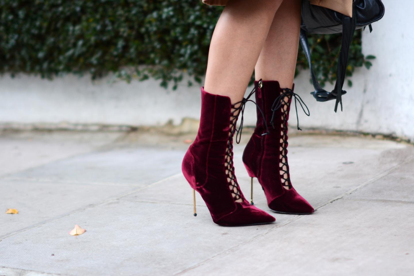 EJSTYLE - burgundy wine velvet lace up heeled boots by Kurt Geiger with metal heel