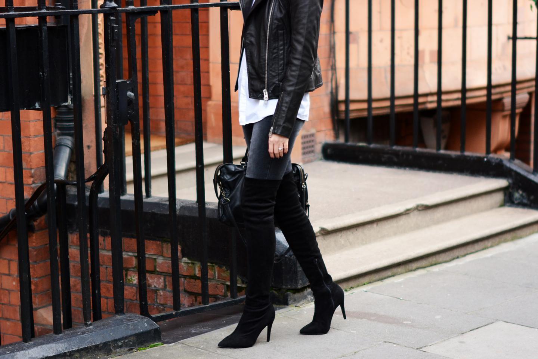 EJSTYLE - Black acid wash skinny jeans, Next microsuede OTK thigh high boots, Balenciaga bag, all saints leather biker jacket