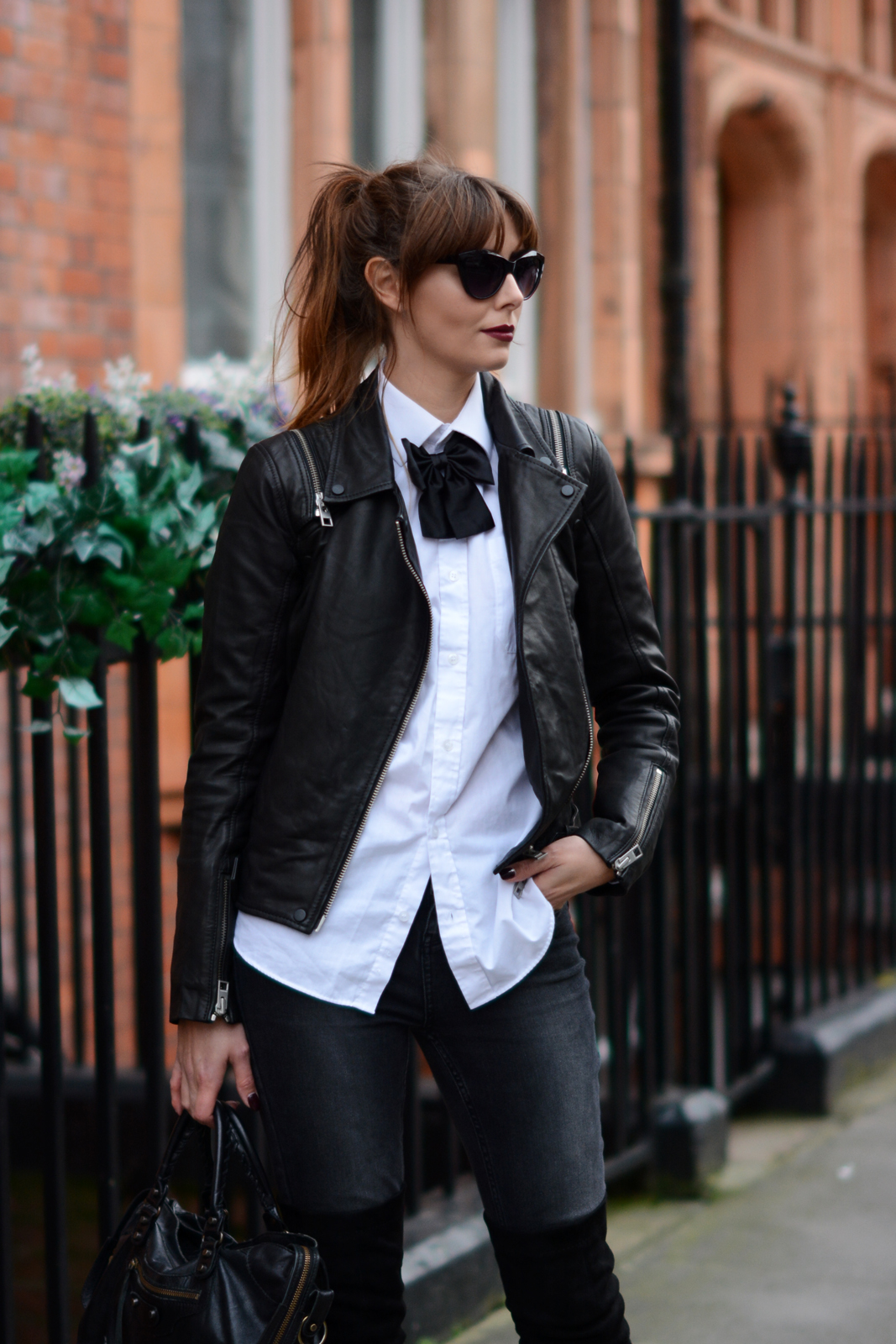EJSTYLE - Black bowtie, all saints leather biker jacket, white shirt, street style London, Dark red vamp lips, ombre hair, fashion blogger