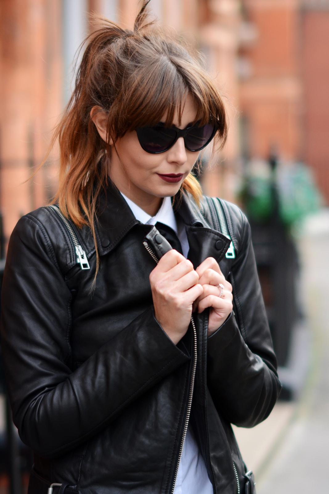 EJSTYLE - Black bowtie, all saints leather biker jacket, white shirt, the Biker portraits, vampy lips