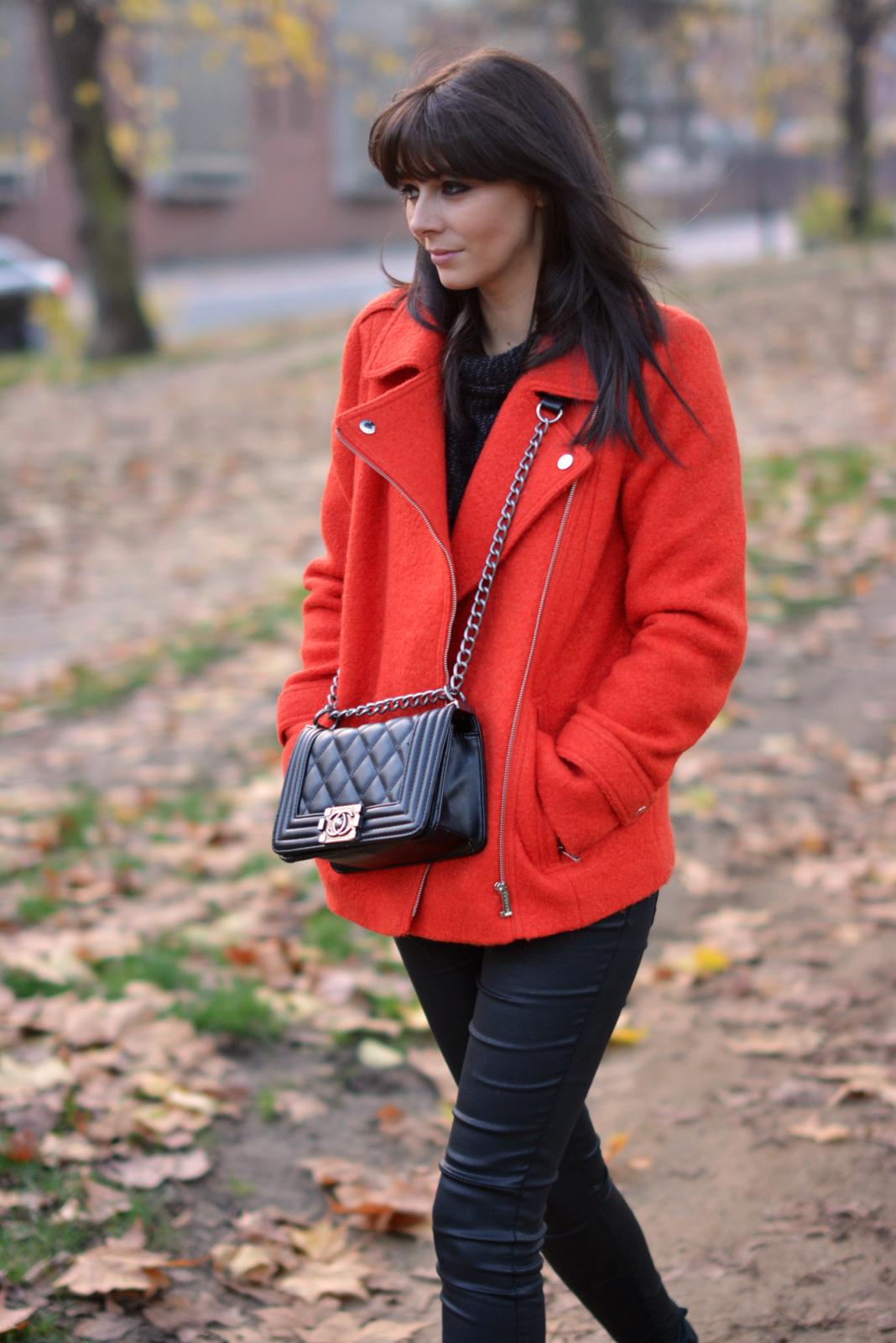 EJSTYLE - Debenhams EDITION Preen Orange Boucle biker jacket, Chanel Boy Bag Black, Fashion Blogger, autumn fall street style London, Hyde park