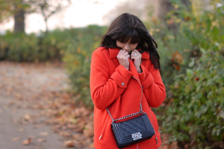 EJSTYLE - Debenhams EDITION Preen Orange Boucle biker jacket, Chanel Boy Bag Black, Fashion Blogger, autumn fall street style