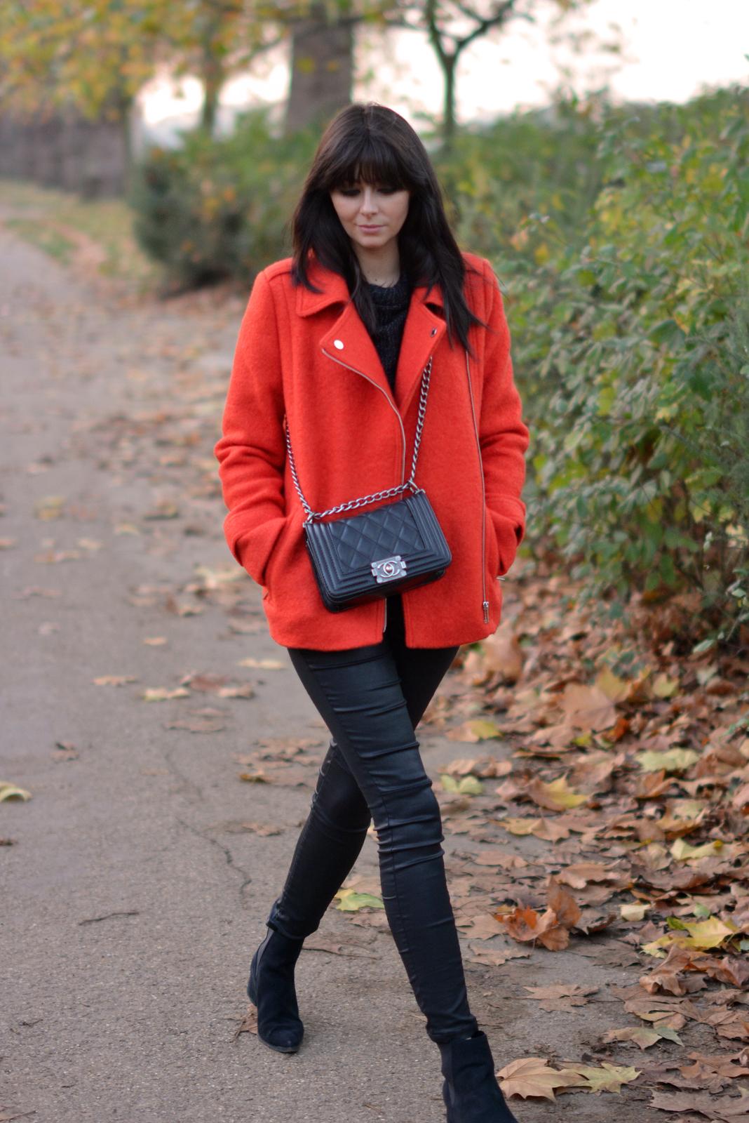 EJSTYLE - Debenhams EDITION Preen Orange Boucle biker jacket, Chanel Boy Bag Black, Fashion Blogger, street style