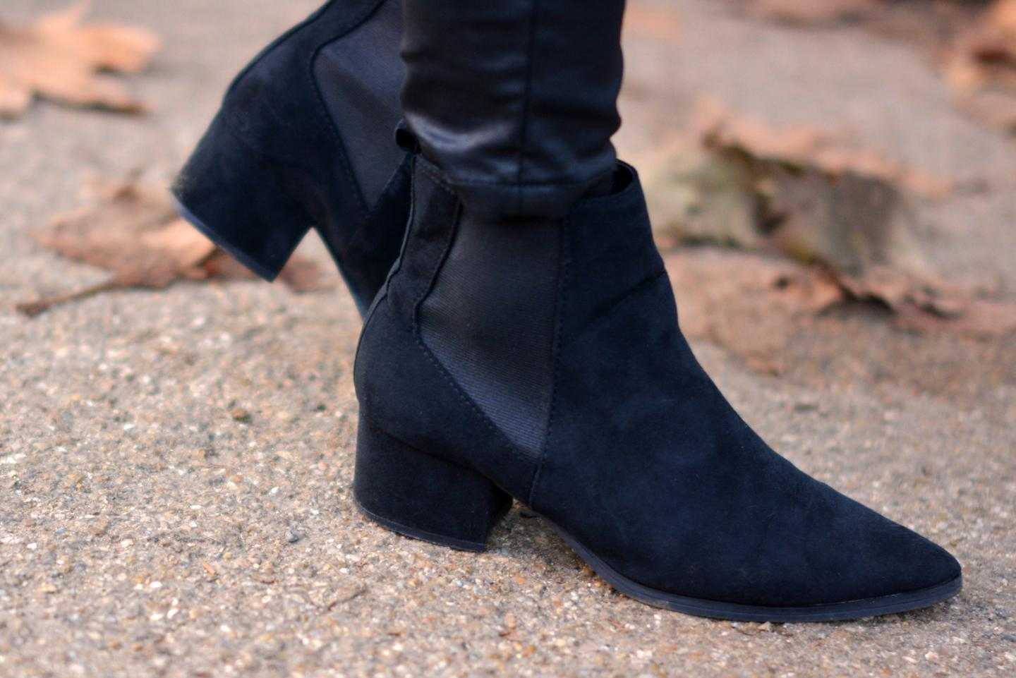 EJSTYLE - M&S pointed toe black chelsea ankle boots