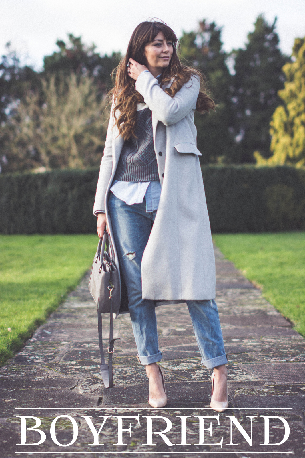 EJSTYLE - Dorothy Perkins grey boyfriend coat, Levis 501 boyfriend bleach jeans, Daniel Footwear nude courts, Lookbook store grey jumper, denim shirt, Zara mini city bag, OOTD, winter outfi, LOTD