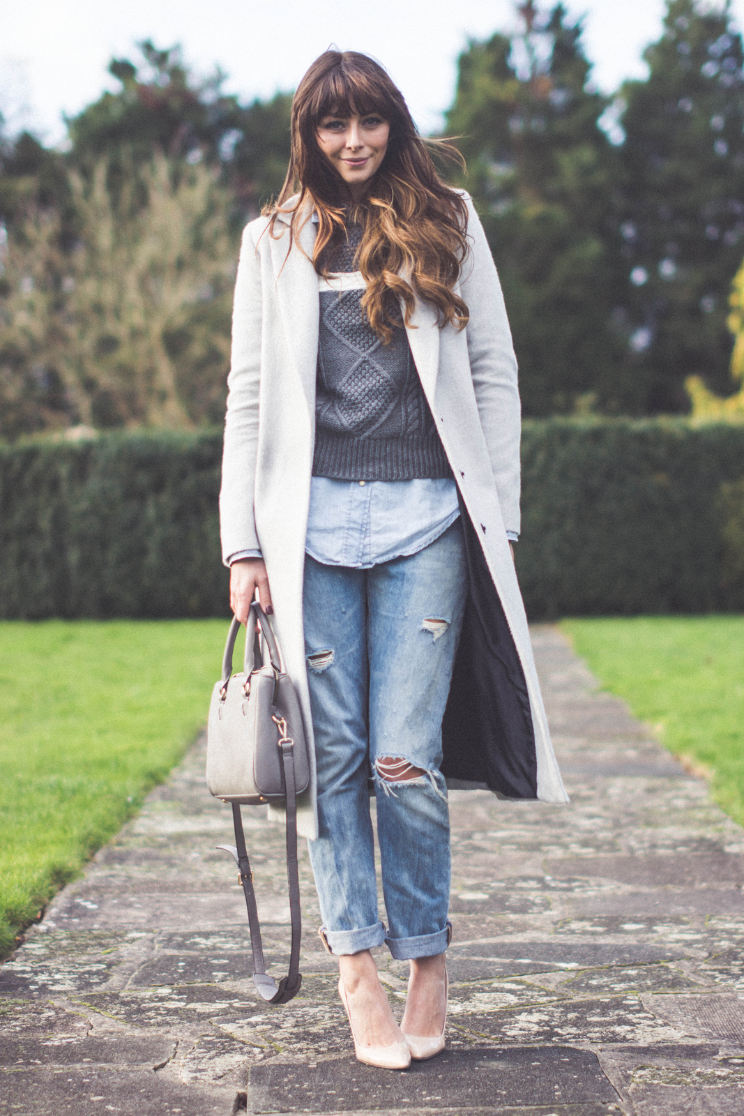 EJSTYLE - Dorothy Perkins grey boyfriend coat, Levis 501 boyfriend bleach jeans, Daniel Footwear nude courts, Lookbook store grey jumper, denim shirt, Zara mini city bag, OOTD, winter outfit, layers