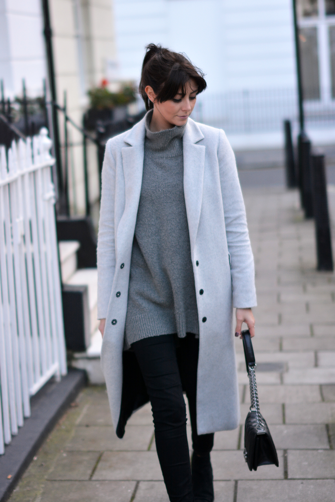 EJSTYLE - Dorothy Perkins long grey mannish coat, Zara high neck jumper sweater, Black skinny jeans, OOTD, winter outfit