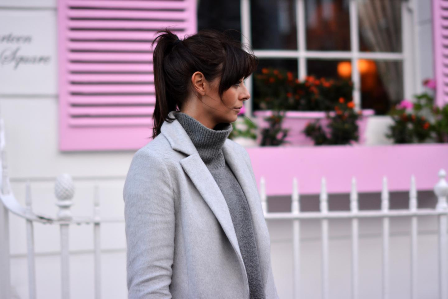 EJSTYLE - Grey high neck jumper from Zara, grey soft coat Dorothy perkins