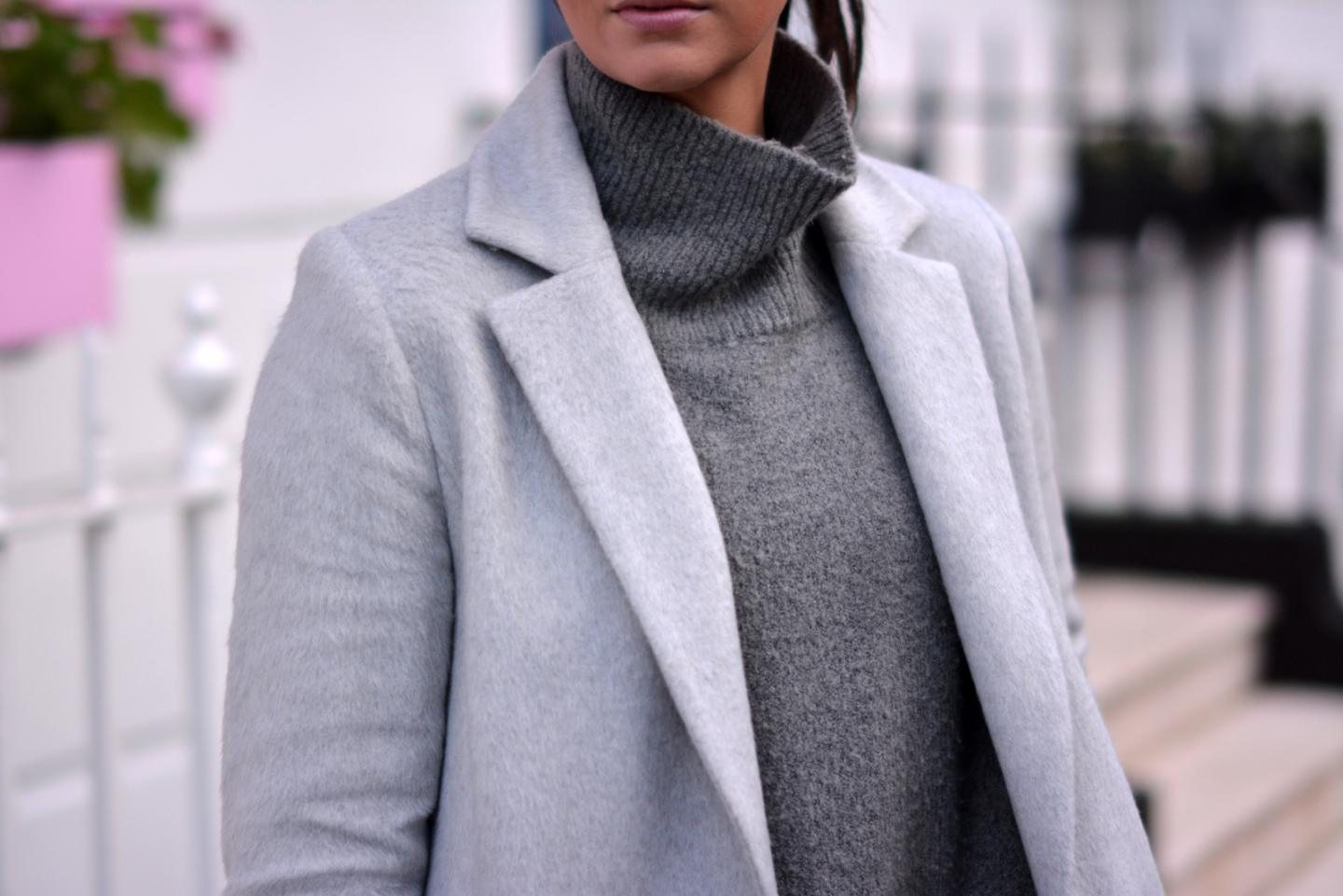 EJSTYLE - High neck Zara grey jumper sweater, grey soft Dorothy Perkins tailored long coat