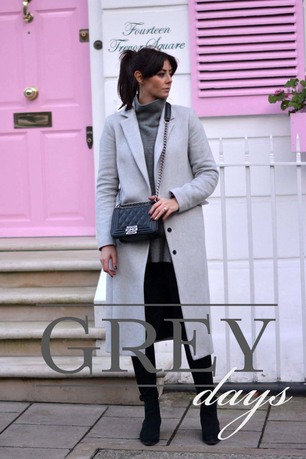 EJSTYLE - Long grey dorothy perkins coat, high neck zara jumper sweater, black skinny soft jeans, black pointed toe ankle boots, Chanel boy bag black, winter OOTD2