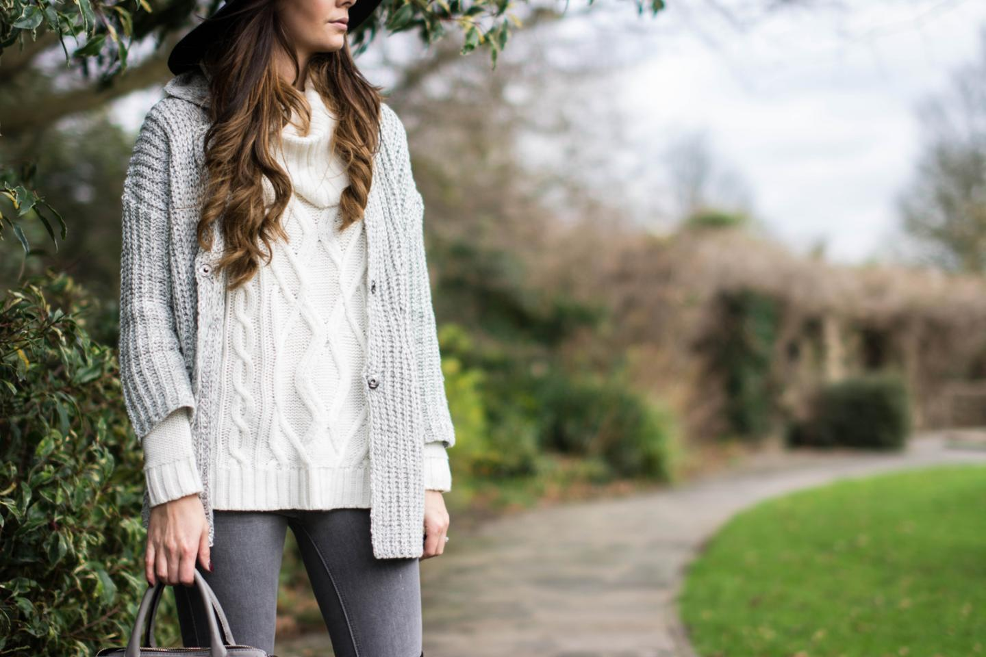 EJSTYLE - Lookbook store cardigan knit, forever 21 cream cowl neck sweater jumper, Grey skinny jeans, layers, layering, OOTD winter outfit