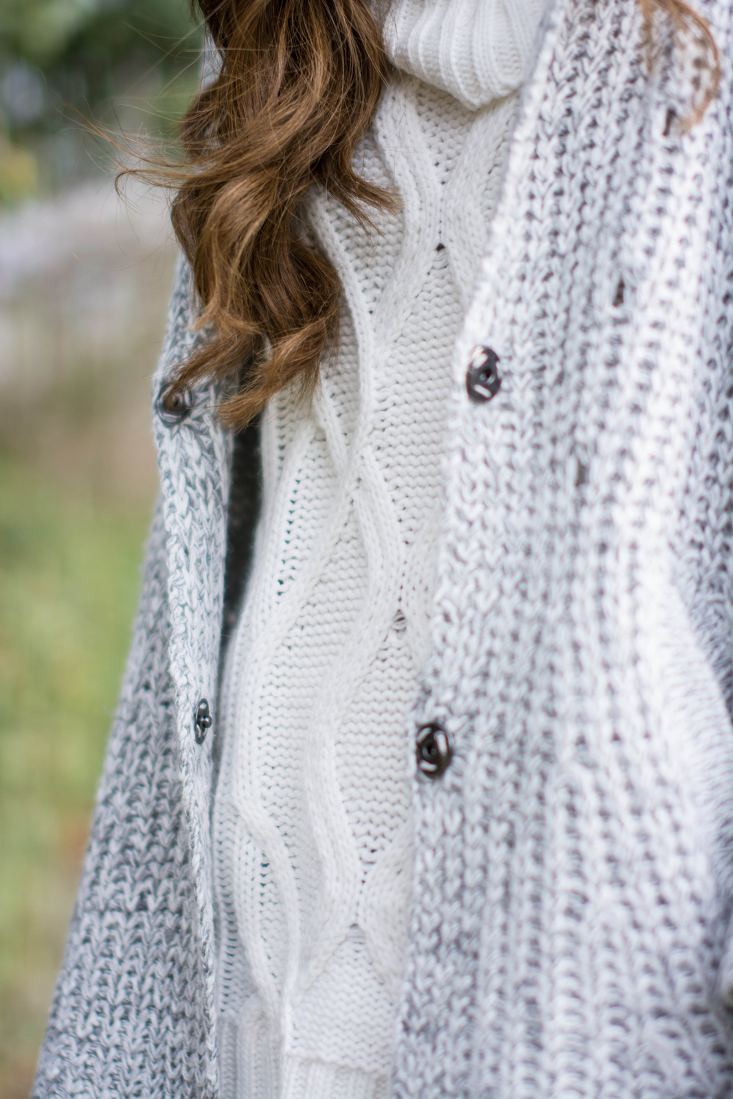 EJSTYLE - Lookbook store cardigan knit, forever 21 cream cowl neck sweater jumper