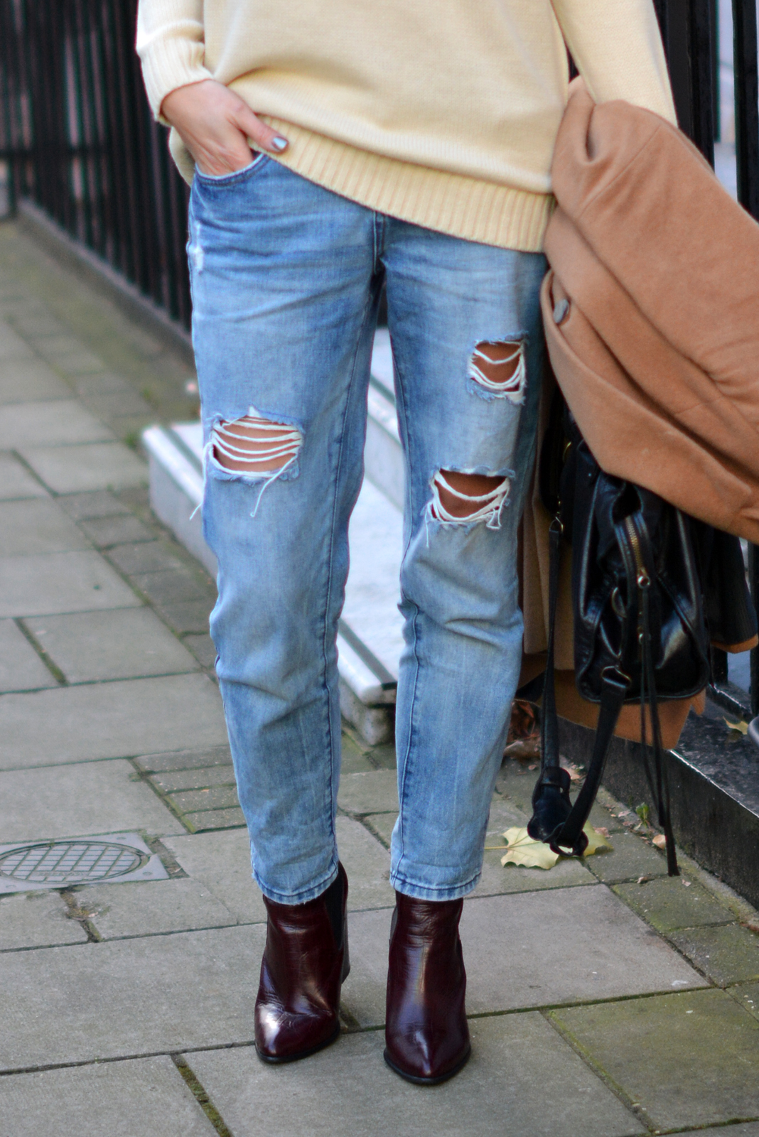 EJSTYLE - New Look ripped boyfriend jeans, River Island wine croc boots, Balenciaga city bag