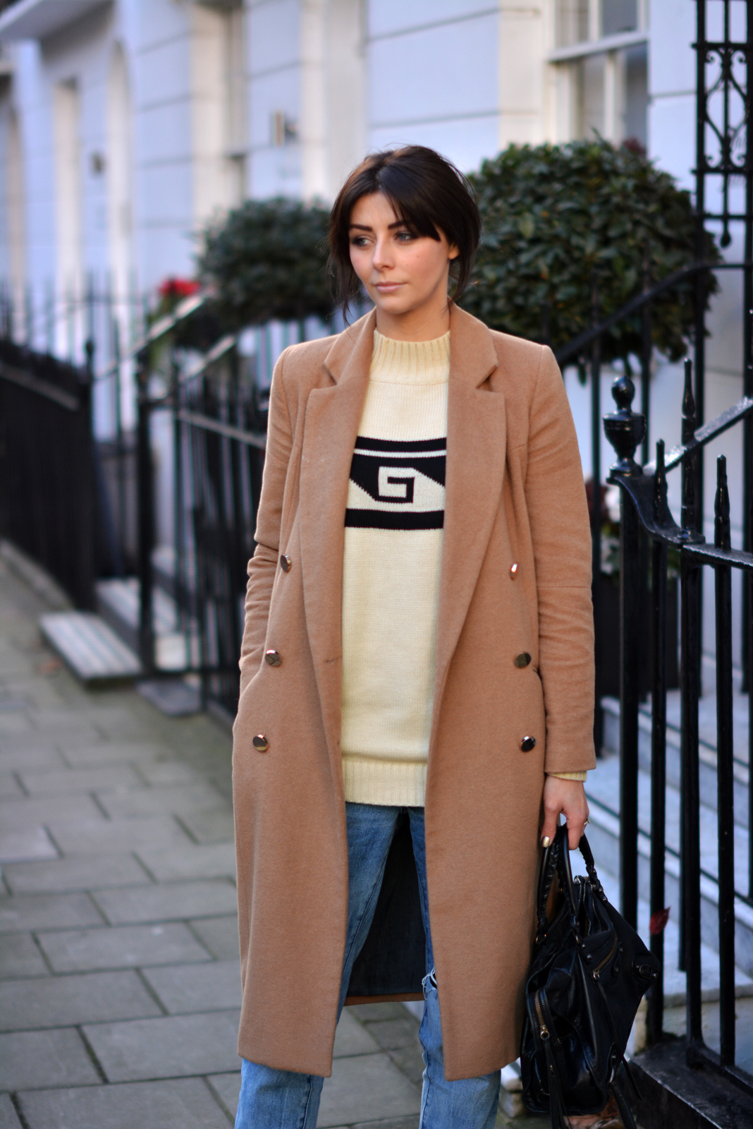 EJSTYLE - River Island Camel Double breasted coat, Forever 21 aztec jumper, Winter OOTD, london street style
