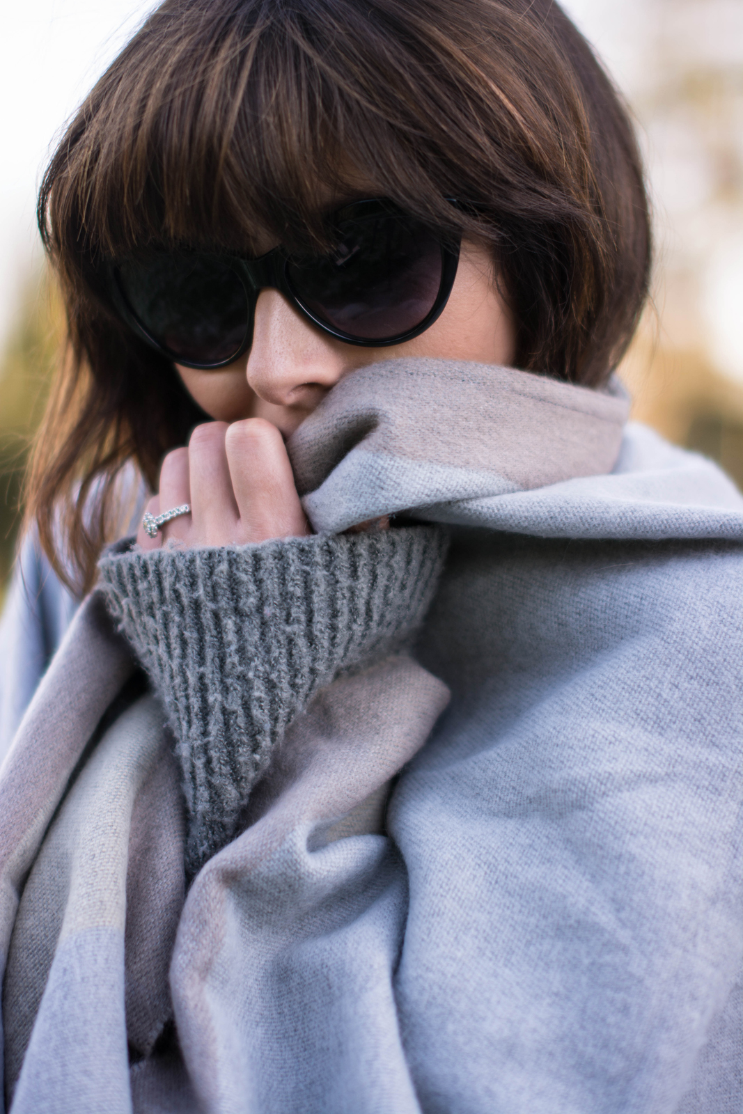 EJSTYLE - River Island Grey Blanket Cape, Fashion Blogger, grey zara roll neck jumper, cat eye sunglasses, cosy cozy outfit
