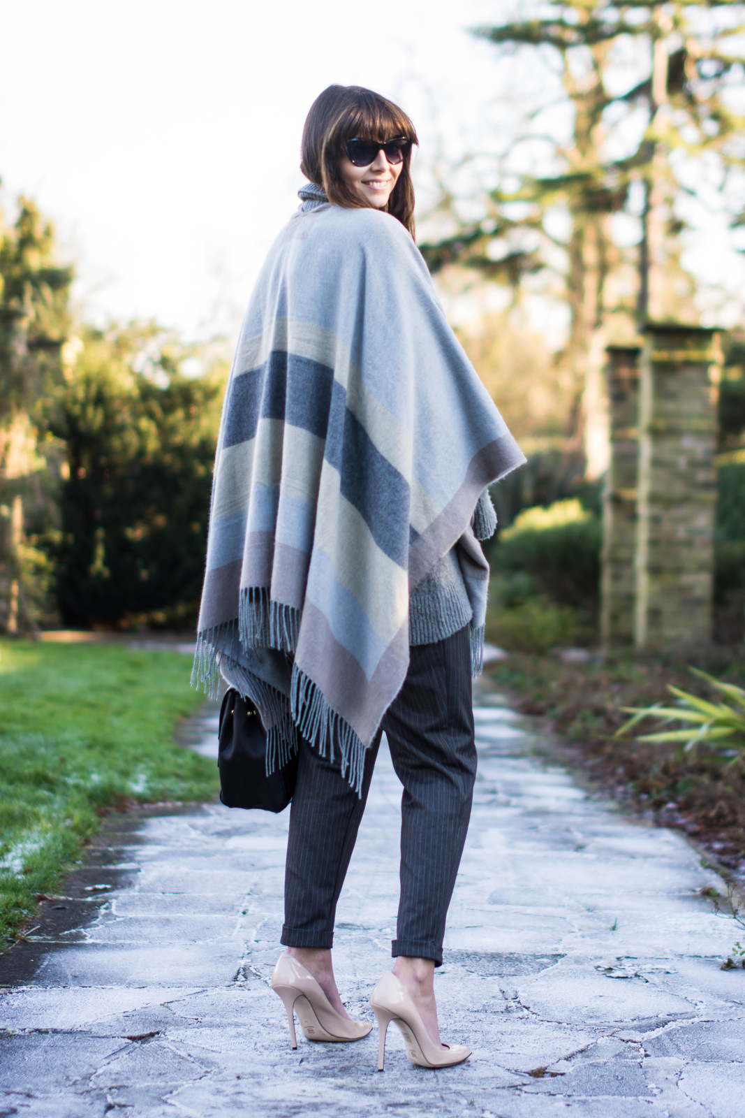 EJSTYLE - River Island Grey Blanket Cape, Nude Daniel Footwear heels, pinstripe forever 21 trousers, OOTD, Winter outfit