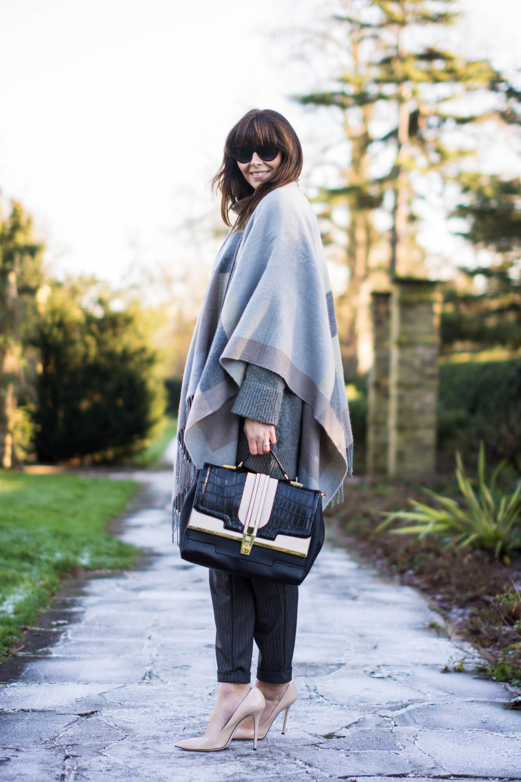 EJSTYLE - River Island Grey Blanket Cape, Nude Daniel Footwear heels, pinstripe forever 21 trousers, grey Zara jumper, River Island bag, OOTD, Winter outfit, fashion blogger