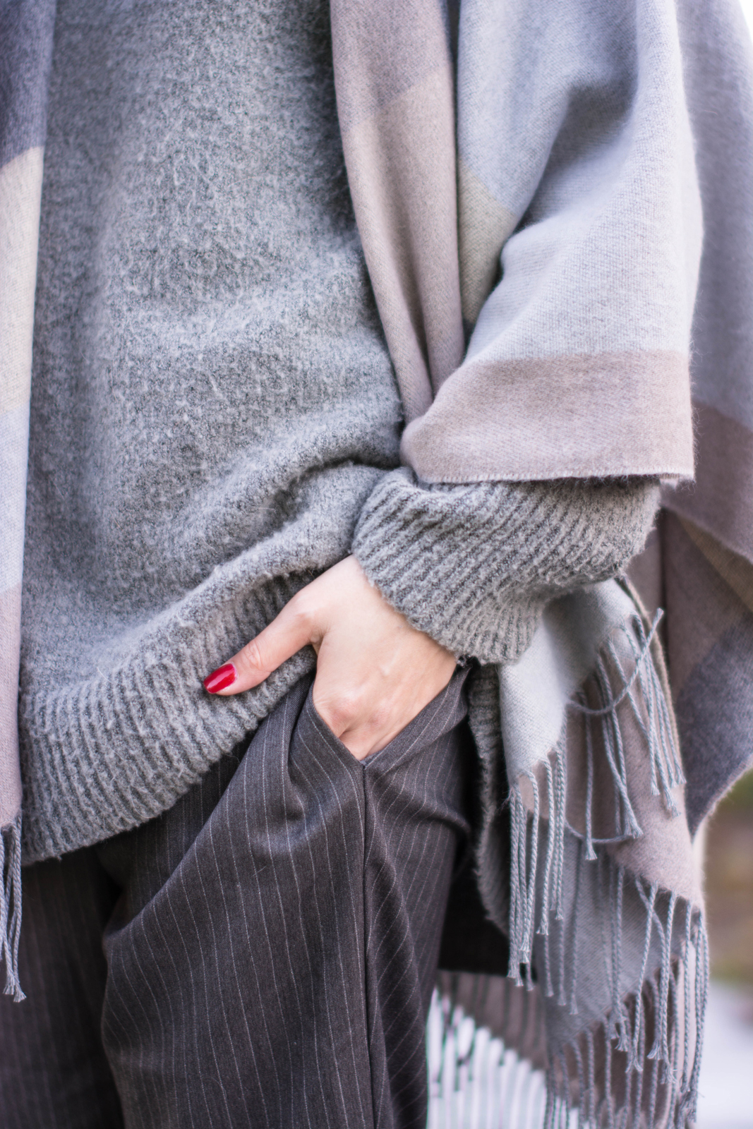 EJSTYLE - River Island Grey Blanket Cape, pinstripe forever 21 trousers, grey Zara jumper, red nails, outfit details