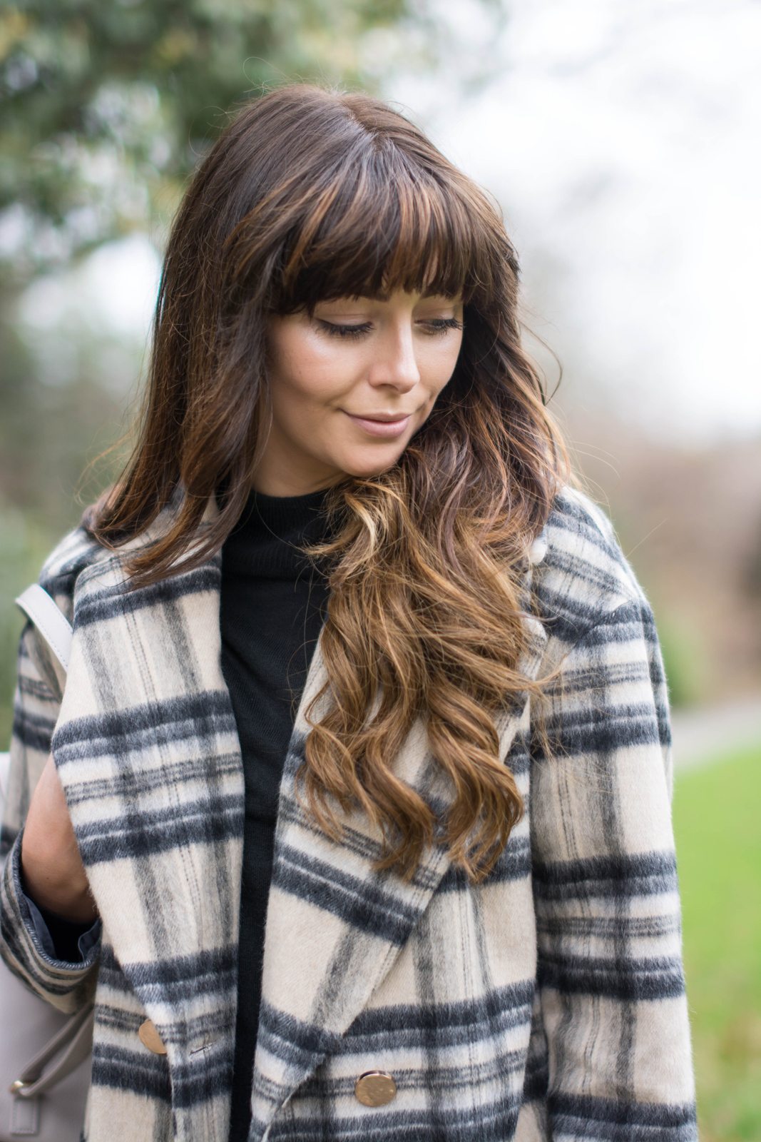 EJSTYLE - River Island brushed check coat, black jumper, Winter OOTD outfit, balayage hair