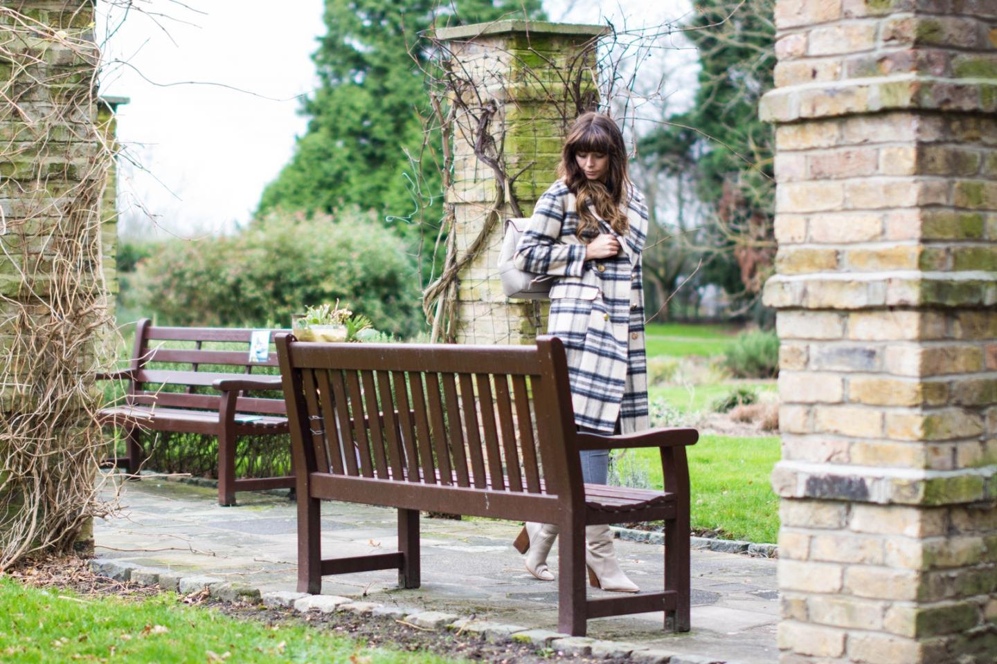 EJSTYLE - River Island brushed check coat, grey skinny jeans, Winter OOTD outfit, grey rucksack backpack