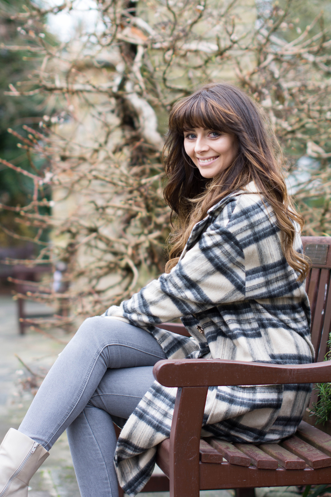 EJSTYLE - River Island brushed check coat, grey skinny jeans, Winter OOTD outfit