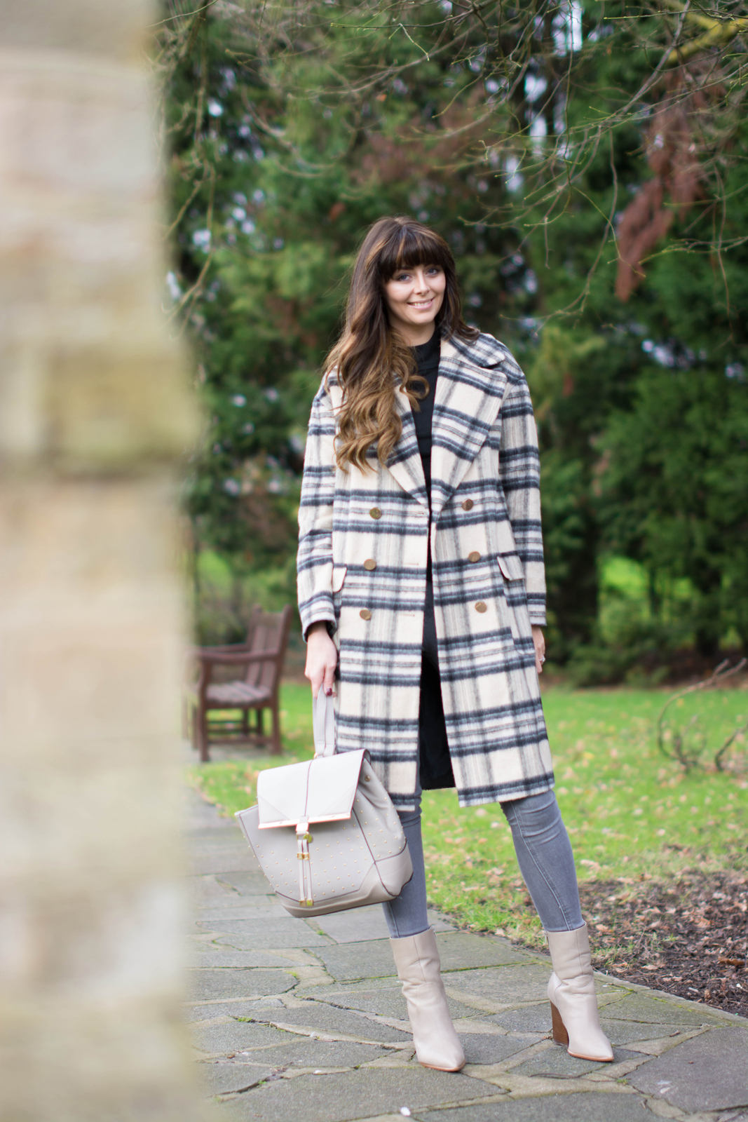 EJSTYLE - River Island brushed check coat, grey skinny jeans, black jumper, taupe M&S boots with pointed toe, Grey backpack rucksack, Winter OOTD outfit, fashion blogger