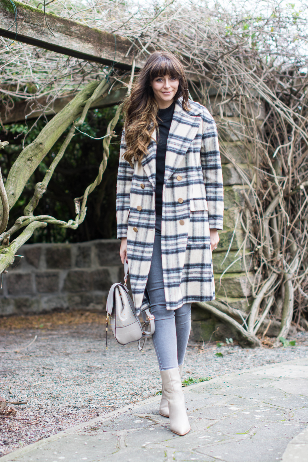 EJSTYLE - River Island brushed check coat, grey skinny jeans, black jumper, taupe M&S boots with pointed toe, Grey backpack rucksack, Winter OOTD