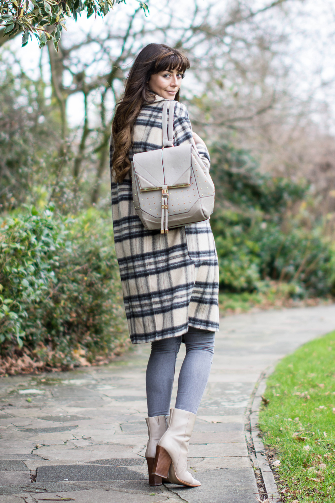 EJSTYLE - River Island brushed check coat, grey skinny jeans, taupe M&S boots with pointed toe, Grey backpack rucksack, Winter OOTD