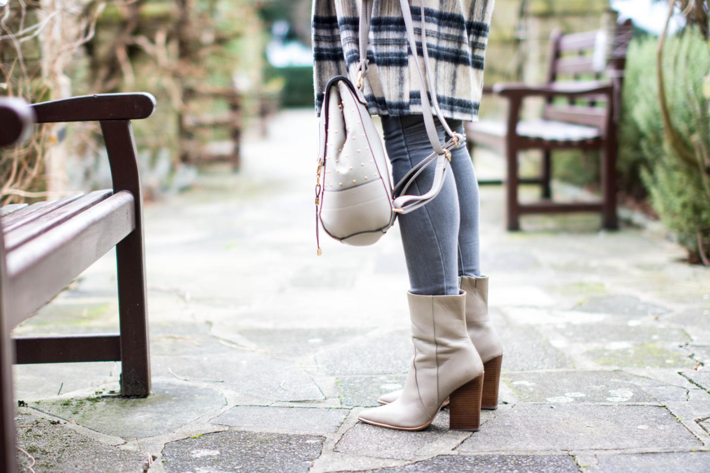 EJSTYLE - River Island brushed check coat, grey skinny jeans,  taupe M&S boots with pointed toe, grey rucksack backpack