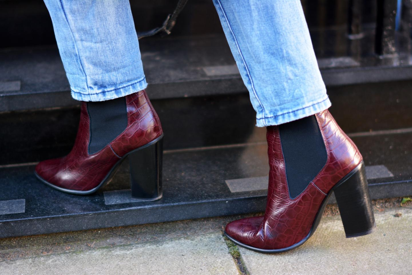 EJSTYLE - River Island wine red burgundy croc boots