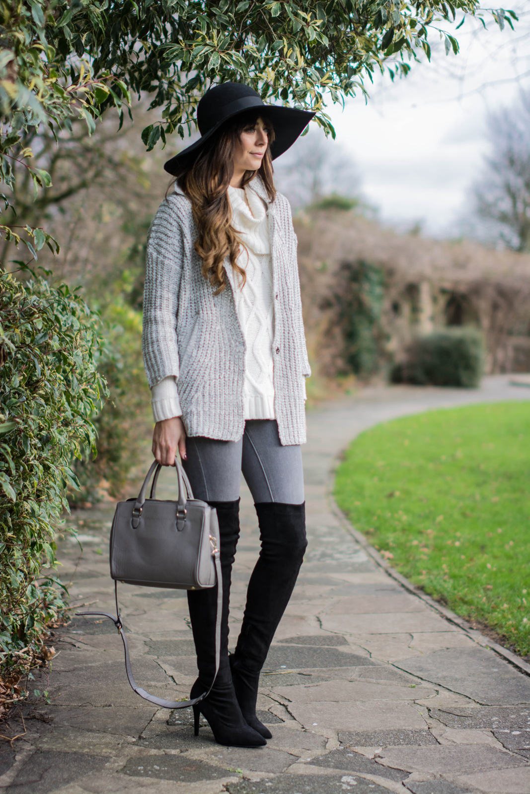 EJSTYLE - Topshop Floppy felt hat, Lookbook store cardigan knit, forever 21 cream cowl neck sweater jumper, Next OTK boots, Grey skinny jeans, Grey zara mini city bag OOTD winter outfit