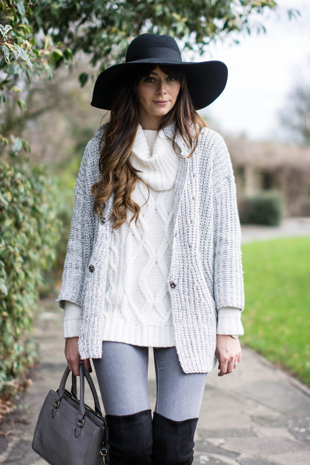 EJSTYLE - Topshop Floppy felt hat, Lookbook store cardigan knit, forever 21 cream cowl neck sweater jumper, OTK boots, Grey skinny jeans, Grey zara mini city bag OOTD winter outfit