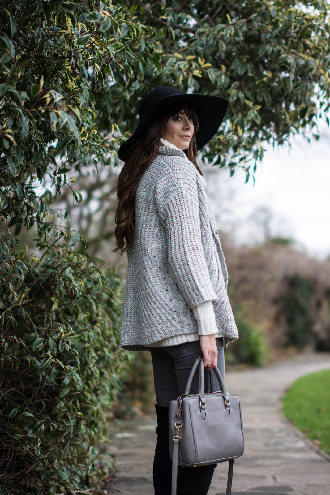 EJSTYLE - Topshop Floppy felt hat, Lookbook store cardigan knit, layering, layers, Next OTK boots, Grey skinny jeans, Grey zara mini city bag OOTD winter outfit