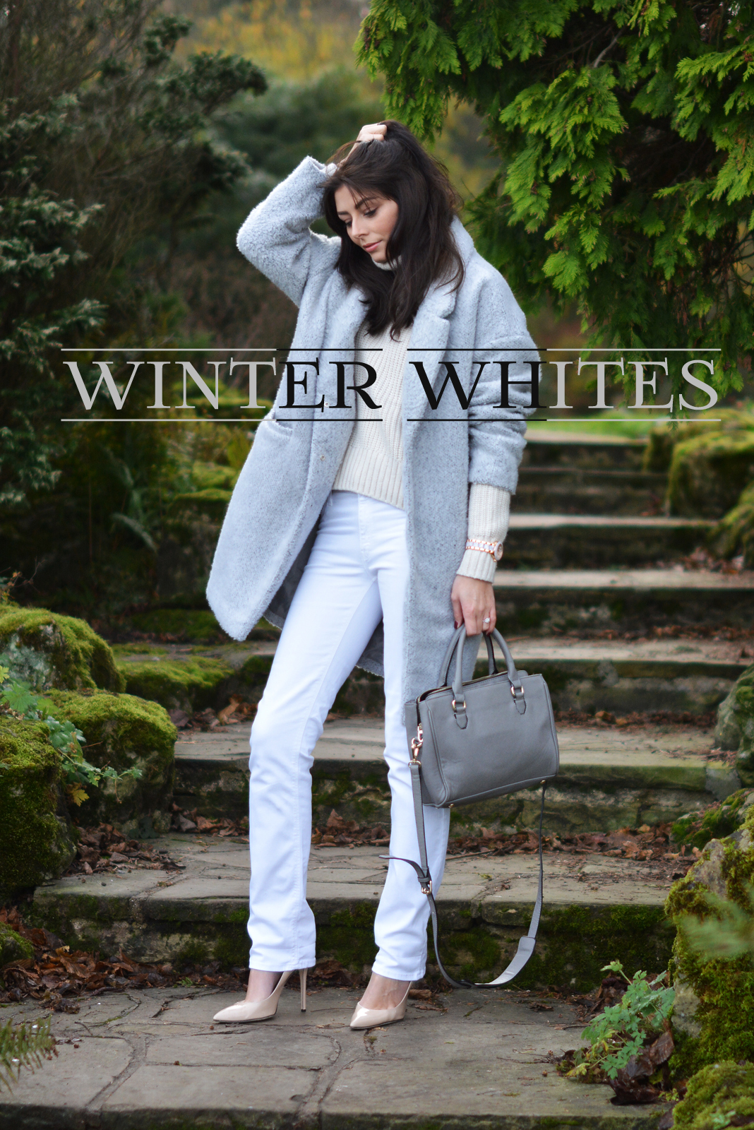 EJSTYLE - winter whites OOTD, white jeans, grey primark coat, Grey Zara city bag, Nude heels, Cream topshop jumper roll neck sweater 2