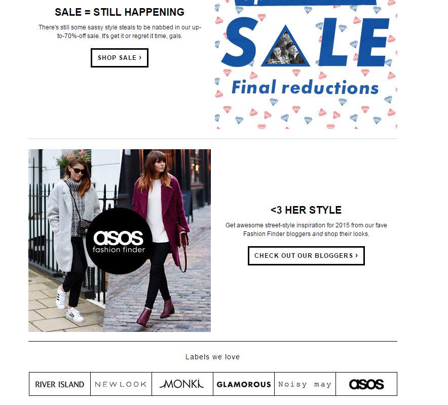 ASOS.com New Year Mailer/Newsletter