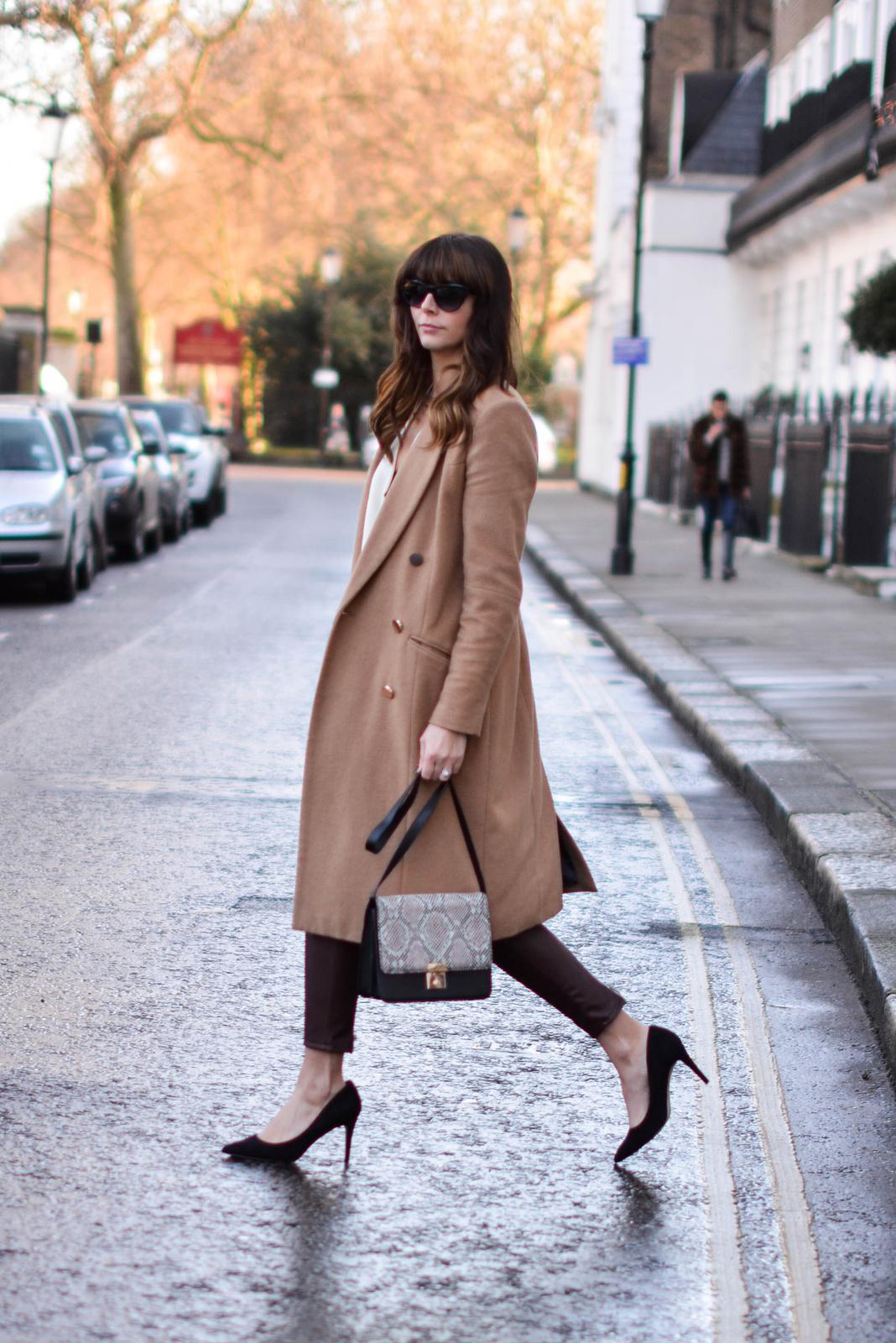 EJSTYLE - ASOS black court shoes, River Island camel coat, Zara burgundy biker trousers faux leather, Snakeskin shoulder bag, OOTD, fashion blogger, chic outfit, Emma Hill