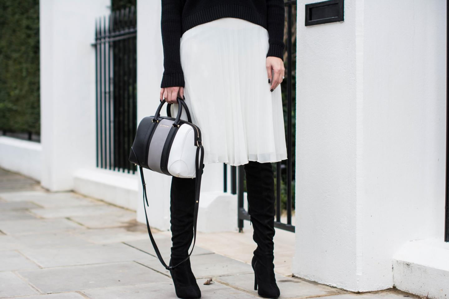 EJSTYLE - Black Topshop jumper, White pleated asos midi skirt, Givenchy lucrezia mini bag, Next OTK boots, monochrome OOTD, detail shot