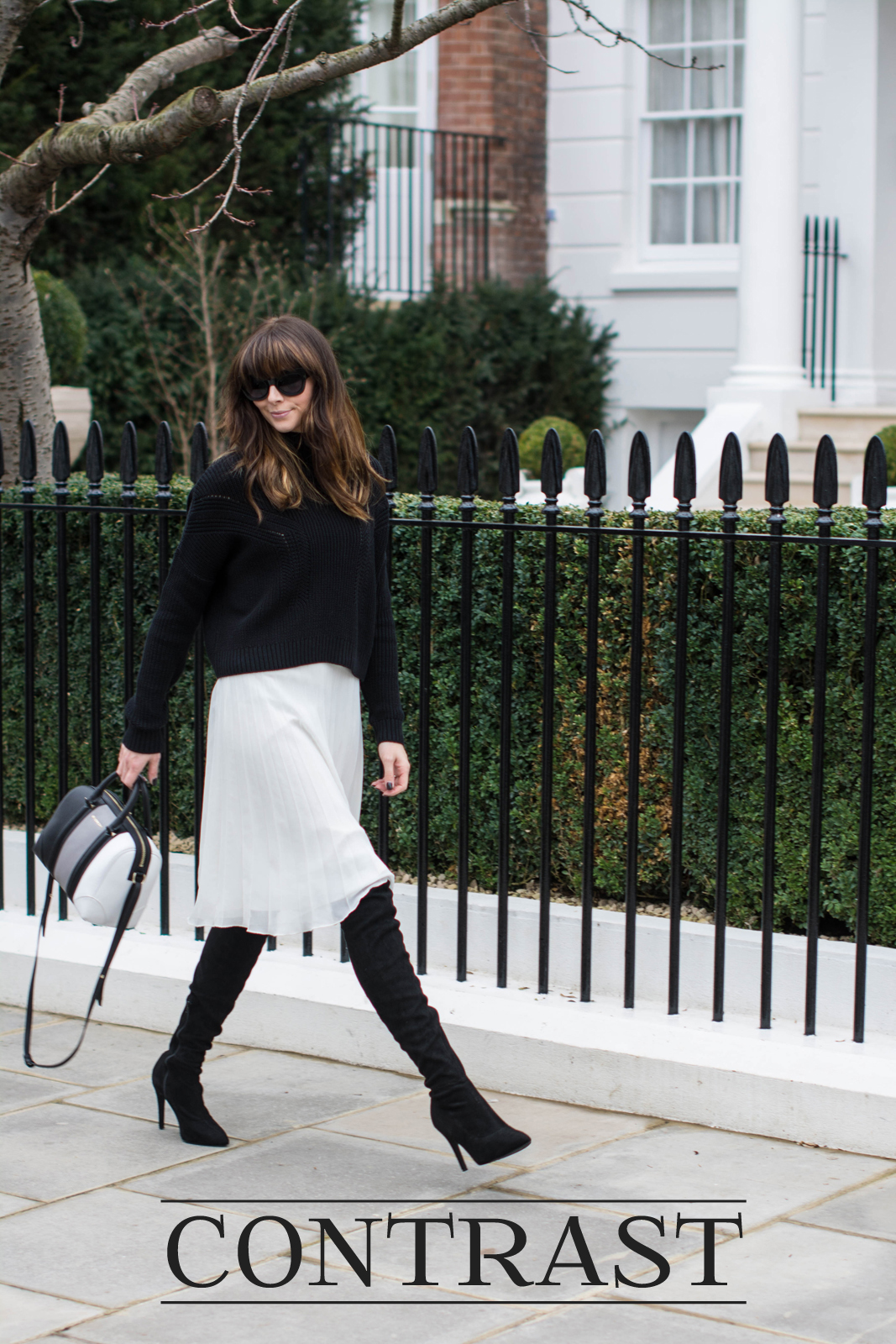 EJSTYLE - Black Topshop jumper, White pleated asos midi skirt, Givenchy lucrezia mini bag, Next OTK boots, monochrome OOTD, fashion blogger Emma Hill, 2