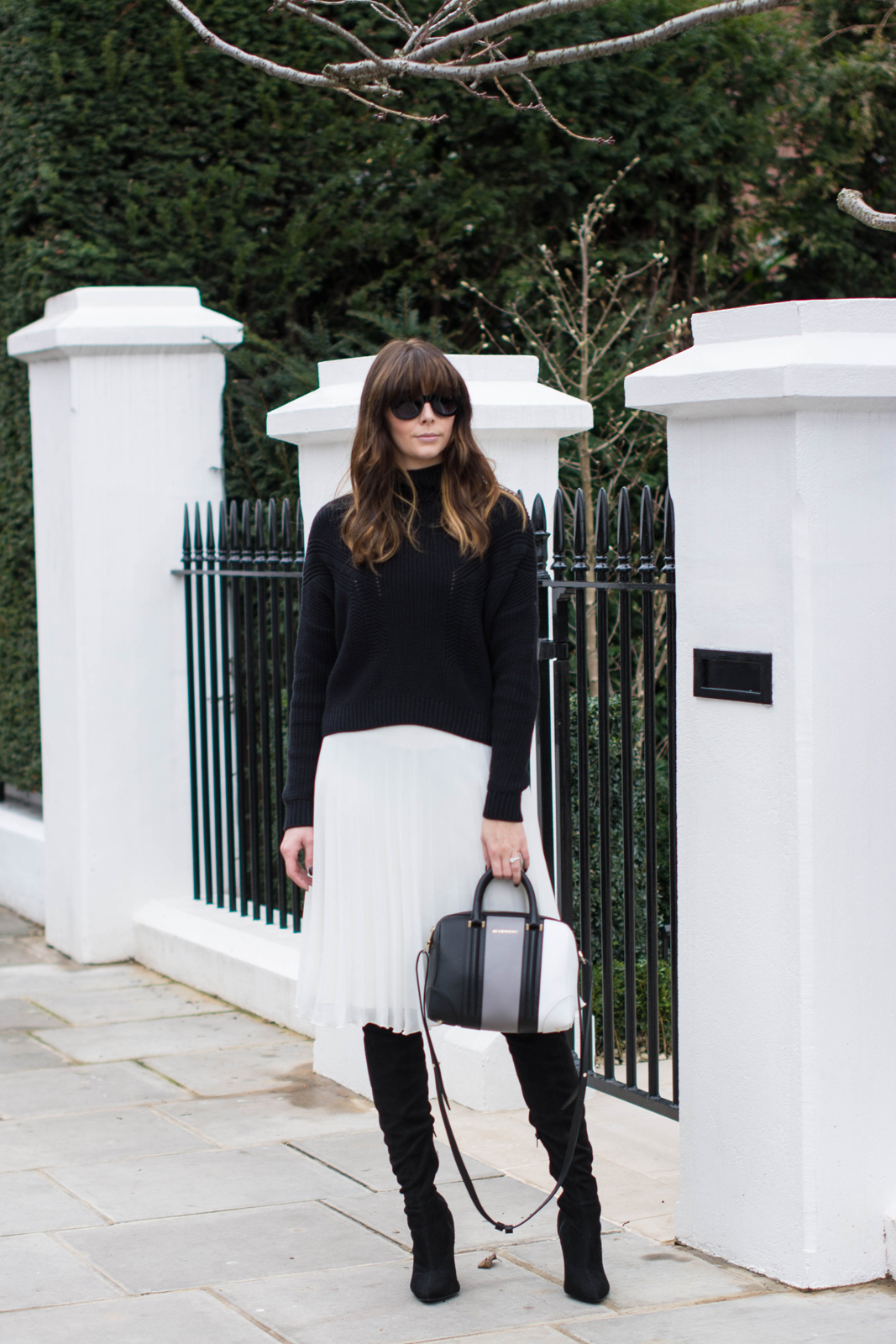 EJSTYLE - Black Topshop jumper, White pleated asos midi skirt, Givenchy lucrezia mini bag, Next OTK boots, monochrome OOTD