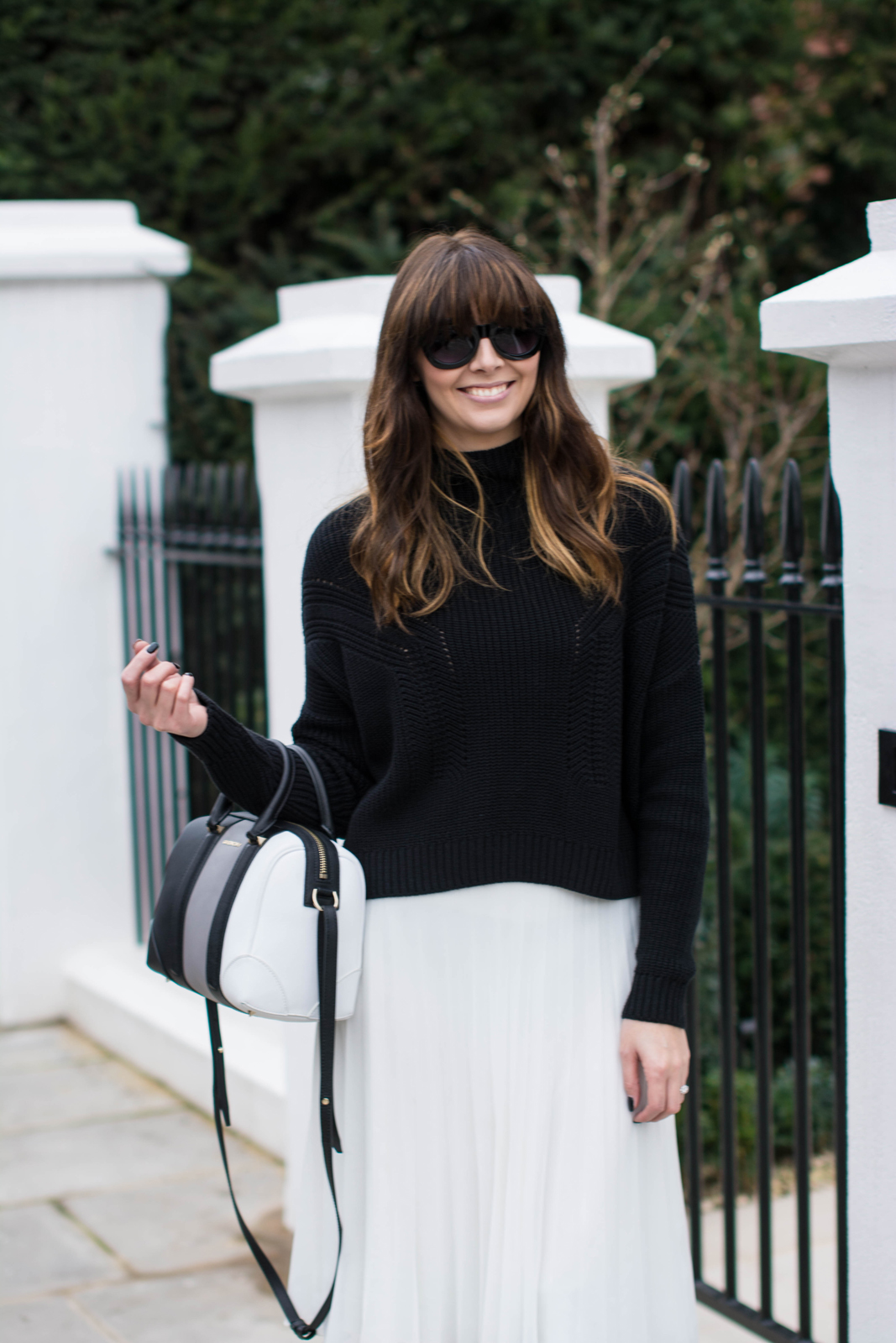 EJSTYLE - Black Topshop jumper, White pleated asos midi skirt, Givenchy lucrezia mini bag, monochrome OOTD, fashion blogger Emma Hill