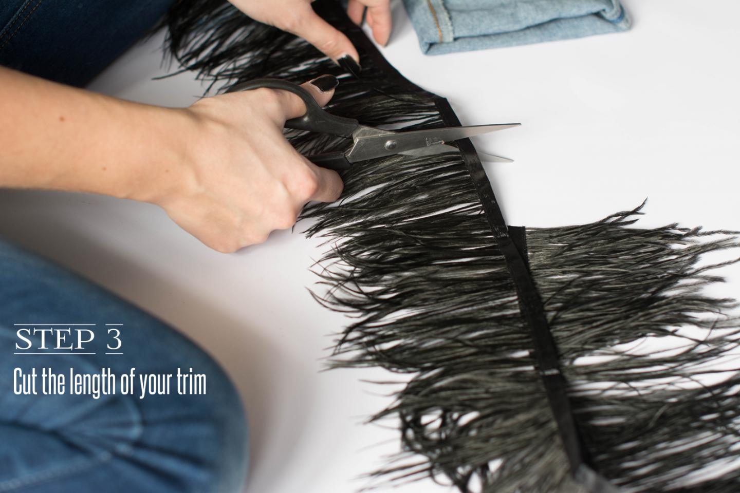 EJSTYLE - DIY Ostrich feather trim jeans, customise jeans, step 3